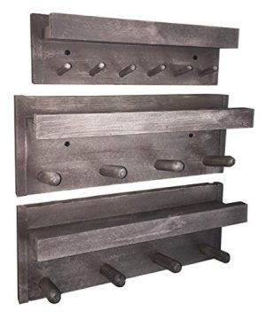 Rustic Farmhouse Wood Coat Racks 2 Piece Set With Shelves Bonus 6 Peg Matching Key Ring Holder Free 3 Piece Set Hand Crafted In USA Barn Side 0 300x360