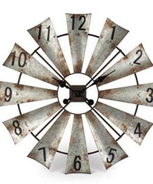 Rustic Metal Round Windmill Wall Clock 30 0 300x360