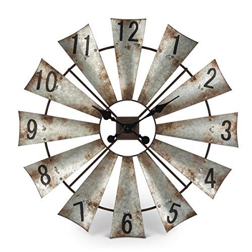 Rustic Metal Round Windmill Wall Clock 30 0