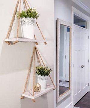 Rustic Set Of 2 Wooden Floating Shelves With String Farmhouse Hanging Shelves For Living Room Wall Small Kitchen Shelves With Rope 17x52 Distressed Rustic White Color 0 1 300x360