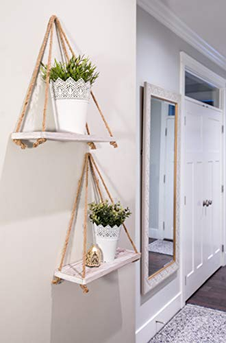 Rustic Set Of 2 Wooden Floating Shelves With String Farmhouse Hanging Shelves For Living Room Wall Small Kitchen Shelves With Rope 17x52 Distressed Rustic White Color 0 1