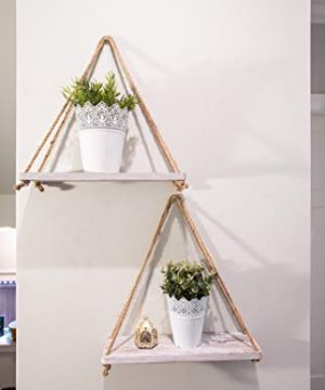 Rustic Set Of 2 Wooden Floating Shelves With String Farmhouse Hanging Shelves For Living Room Wall Small Kitchen Shelves With Rope 17x52 Distressed Rustic White Color 0 2 300x360