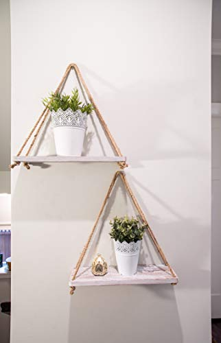 Rustic Set Of 2 Wooden Floating Shelves With String Farmhouse Hanging Shelves For Living Room Wall Small Kitchen Farmhouse Goals