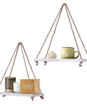 Rustic Set Of 2 Wooden Floating Shelves With String Farmhouse Hanging Shelves For Living Room Wall Small Kitchen Shelves With Rope 17x52 Distressed Rustic White Color 0 3 300x360