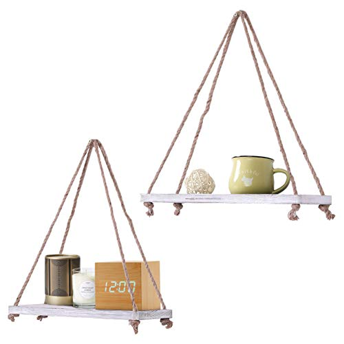 Rustic Set Of 2 Wooden Floating Shelves With String Farmhouse Hanging Shelves For Living Room Wall Small Kitchen Shelves With Rope 17x52 Distressed Rustic White Color 0 3