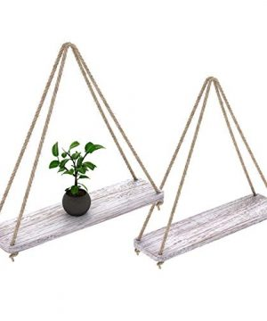 Rustic Set Of 2 Wooden Floating Shelves With String Farmhouse Hanging Shelves For Living Room Wall Small Kitchen Shelves With Rope 17x52 Distressed Rustic White Color 0 300x360