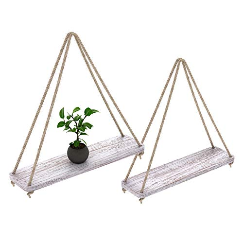 Rustic Set Of 2 Wooden Floating Shelves With String Farmhouse Hanging Shelves For Living Room Wall Small Kitchen Shelves With Rope 17x52 Distressed Rustic White Color 0