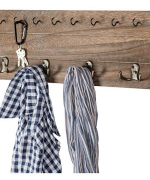 Rustic Shabby Chic Wall Mounted Hanging Entryway Organizer 24x8 With 4 Double Hooks And 9 Small Hooks Coat Rack Hat Organizer Key Holder For Entryway Mudroom Kitchen Bathroom Hallway Foyer 0 300x360