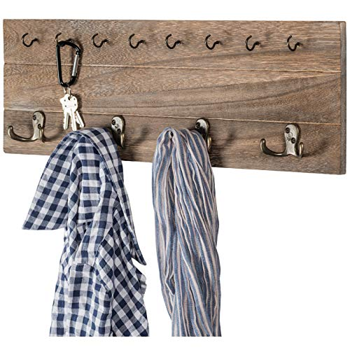 Rustic Shabby Chic Wall Mounted Hanging Entryway Organizer 24x8 With 4 Double Hooks And 9 Small Hooks Coat Rack Hat Organizer Key Holder For Entryway Mudroom Kitchen Bathroom Hallway Foyer 0