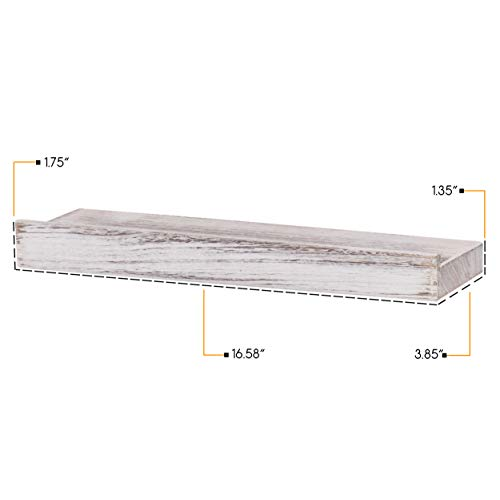 Rustic State Smith Wall Mount Narrow Picture Ledge Shelf Display 1675 Inch Floating Wooden Shelves Distressed White Set Of 2 0 3