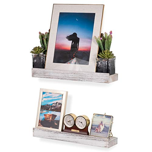 Rustic State Smith Wall Mount Narrow Picture Ledge Shelf Display 1675 Inch Floating Wooden Shelves Distressed White Set Of 2 0