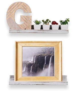 Rustic State Ted Wall Mount Narrow Picture Ledge Shelf Display 17 Inch Floating Wooden Shelves Washed White Set Of 2 0 2 300x360