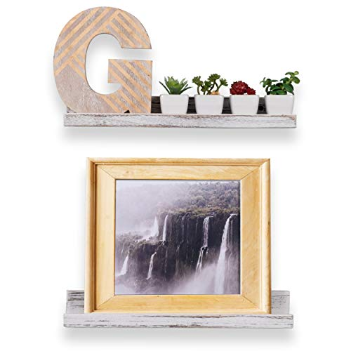 Rustic State Ted Wall Mount Narrow Picture Ledge Shelf Display 17 Inch Floating Wooden Shelves Washed White Set Of 2 0 2