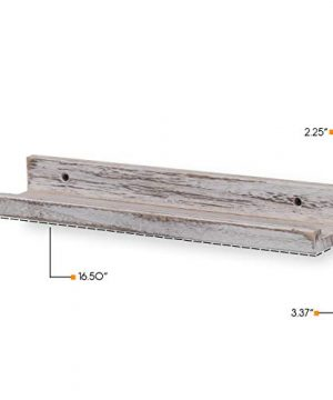 Rustic State Ted Wall Mount Narrow Picture Ledge Shelf Display 17 Inch Floating Wooden Shelves Washed White Set Of 2 0 3 300x360