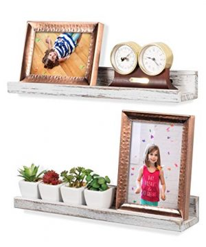 Rustic State Ted Wall Mount Narrow Picture Ledge Shelf Display 17 Inch Floating Wooden Shelves Washed White Set Of 2 0 300x360