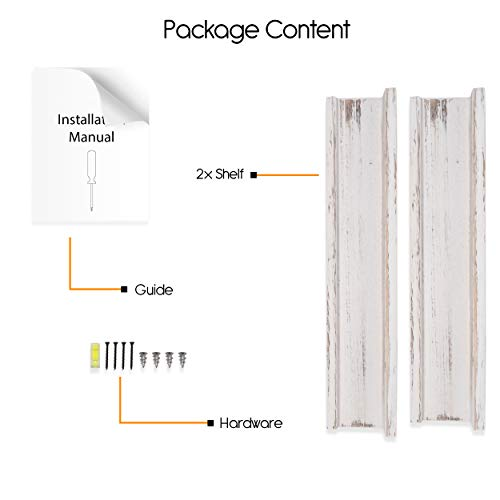 Rustic State Ted Wall Mount Narrow Picture Ledge Shelf Display 17 Inch Floating Wooden Shelves Washed White Set Of 2 0 4