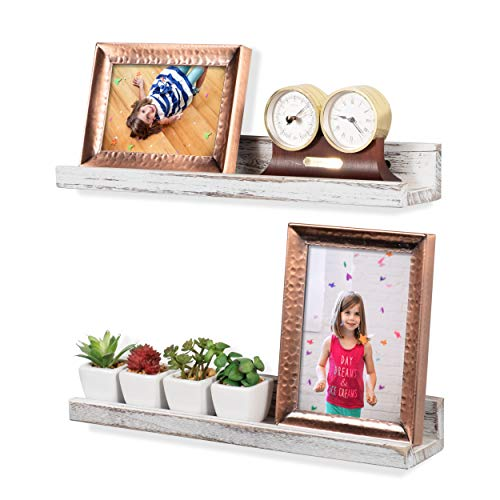Rustic State Ted Wall Mount Narrow Picture Ledge Shelf Display 17 Inch Floating Wooden Shelves Washed White Set Of 2 0