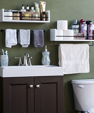 Rustic State William Wall Mount Bathroom Shelf Solid Wood With Rail White 0 0 300x360