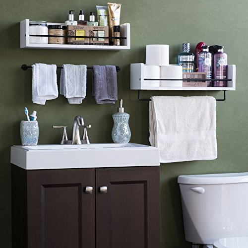 Rustic State William Wall Mount Bathroom Shelf Solid Wood With Rail White 0 0
