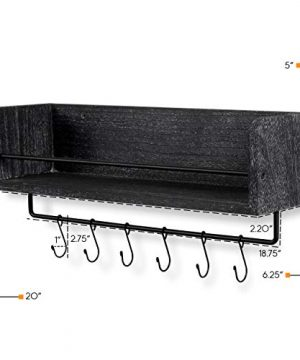 Rustic State William Wall Mount Floating Shelf With Rail And Hooks Farmhouse Design 20 Inch Torched Distressed Wood Vintage Distressed Black 0 3 300x360