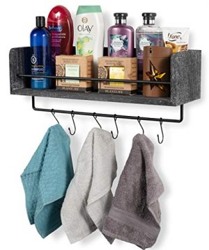 Rustic State William Wall Mount Floating Shelf With Rail And Hooks Farmhouse Design 20 Inch Torched Distressed Wood Vintage Distressed Black 0 5 300x360