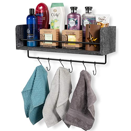 Rustic State William Wall Mount Floating Shelf With Rail And Hooks Farmhouse Design 20 Inch Torched Distressed Wood Vintage Distressed Black 0 5