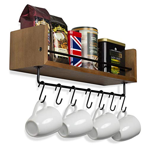 Rustic State William Wall Mount Floating Shelf With Rail And Hooks Farmhouse Design Coffee Mug Holder With 10 Hooks 20 Inch 0 0