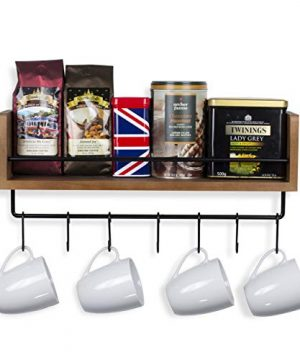 Rustic State William Wall Mount Floating Shelf With Rail And Hooks Farmhouse Design Coffee Mug Holder With 10 Hooks 20 Inch 0 1 300x360