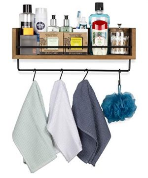 Rustic State William Wall Mount Floating Shelf With Rail And Hooks Farmhouse Design Coffee Mug Holder With 10 Hooks 20 Inch 0 2 300x360