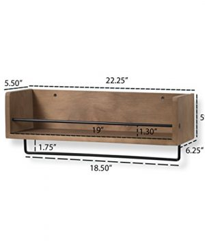 Rustic State William Wall Mount Floating Shelf With Rail And Hooks Farmhouse Design Coffee Mug Holder With 10 Hooks 20 Inch 0 4 300x360