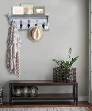 Rustic Wall Mounted Coat Rack Shelf Wooden Country Style 24 Entryway Shelf With 5 Rustic Hooks Solid Pine Wood Perfect Touch For Your Entryway Mudroom Kitchen Bathroom And More White 0 0 300x360