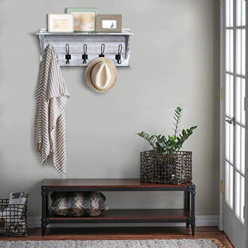 Rustic Wall Mounted Coat Rack Shelf Wooden Country Style 24 Entryway Shelf With 5 Rustic Hooks Solid Pine Wood Perfect Touch For Your Entryway Mudroom Kitchen Bathroom And More White 0 0