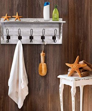 Rustic Wall Mounted Coat Rack Shelf - Wooden Country Style ...
