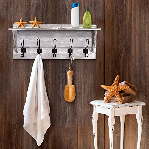 Rustic Wall Mounted Coat Rack Shelf Wooden Country Style 24 Entryway Shelf With 5 Rustic Hooks Solid Pine Wood Perfect Touch For Your Entryway Mudroom Kitchen Bathroom And More White 0 2