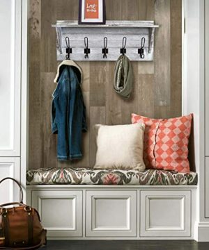 Rustic Wall Mounted Coat Rack Shelf Wooden Country Style 24 Entryway Shelf With 5 Rustic Hooks Solid Pine Wood Perfect Touch For Your Entryway Mudroom Kitchen Bathroom And More White 0 5 300x360