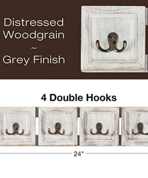 Rustic Wall Mounted Coat Rack With 4 Double Hanging Hooks Overall Size Is 24x6 Use As Coat Rack Hat Organizer Key Holder Perfect For Entryway Mudroom Kitchen Bathroom Hallway Foyer 0 0 300x360