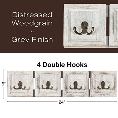 Rustic Wall Mounted Coat Rack With 4 Double Hanging Hooks Overall Size Is 24x6 Use As Coat Rack Hat Organizer Key Holder Perfect For Entryway Mudroom Kitchen Bathroom Hallway Foyer 0 0