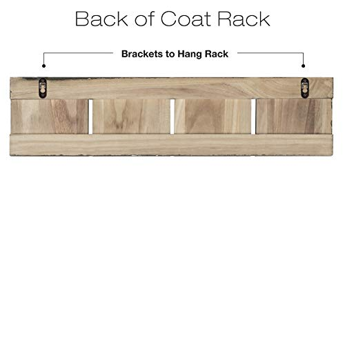 Rustic Wall Mounted Coat Rack With 4 Double Hanging Hooks Overall Size Is 24x6 Use As Coat Rack Hat Organizer Key Holder Perfect For Entryway Mudroom Kitchen Bathroom Hallway Foyer 0 1