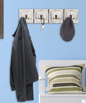Rustic Wall Mounted Coat Rack With 4 Double Hanging Hooks Overall Size Is 24x6 Use As Coat Rack Hat Organizer Key Holder Perfect For Entryway Mudroom Kitchen Bathroom Hallway Foyer 0 2 300x360