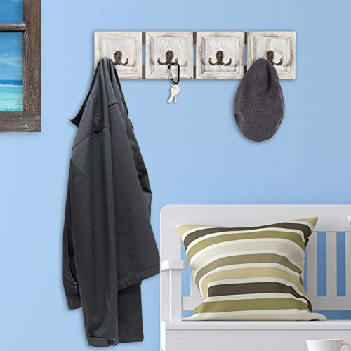 Rustic Wall Mounted Coat Rack With 4 Double Hanging Hooks Overall Size Is 24x6 Use As Coat Rack Hat Organizer Key Holder Perfect For Entryway Mudroom Kitchen Bathroom Hallway Foyer 0 2