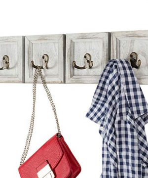 Rustic Wall Mounted Coat Rack With 4 Double Hanging Hooks Overall Size Is 24x6 Use As Coat Rack Hat Organizer Key Holder Perfect For Entryway Mudroom Kitchen Bathroom Hallway Foyer 0 300x360