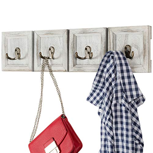 Rustic Wall Mounted Coat Rack With 4 Double Hanging Hooks Overall Size Is 24x6 Use As Coat Rack Hat Organizer Key Holder Perfect For Entryway Mudroom Kitchen Bathroom Hallway Foyer 0