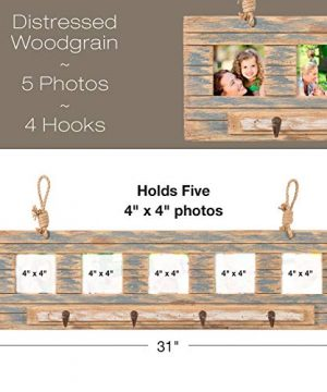 Rustic Wall Mounted Coat Rack With 4 Hanging Hooks And 31x9 Holds 5 Photos Use As Coat Rack Hat Organizer Key Holder Perfect For Entryway Mudroom Kitchen Bathroom Hallway Foyer 0 0 300x360