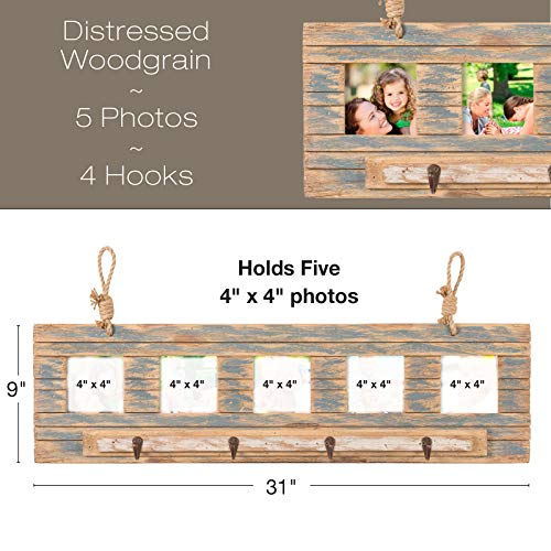 Rustic Wall Mounted Coat Rack With 4 Hanging Hooks And 31x9 Holds 5 Photos Use As Coat Rack Hat Organizer Key Holder Perfect For Entryway Mudroom Kitchen Bathroom Hallway Foyer 0 0