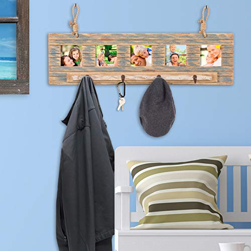 Rustic Wall Mounted Coat Rack With 4 Hanging Hooks And 31x9 Holds 5 Photos Use As Coat Rack Hat Organizer Key Holder Perfect For Entryway Mudroom Kitchen Bathroom Hallway Foyer 0 2