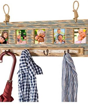 Rustic Wall Mounted Coat Rack With 4 Hanging Hooks And 31x9 Holds 5 Photos Use As Coat Rack Hat Organizer Key Holder Perfect For Entryway Mudroom Kitchen Bathroom Hallway Foyer 0 300x360