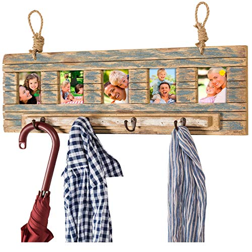 Rustic Wall Mounted Coat Rack With 4 Hanging Hooks And 31x9 Holds 5 Photos Use As Coat Rack Hat Organizer Key Holder Perfect For Entryway Mudroom Kitchen Bathroom Hallway Foyer 0