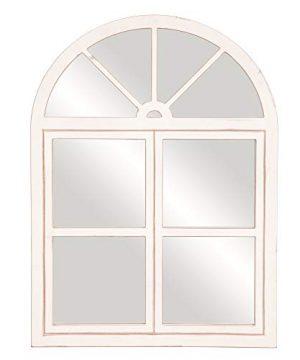 Rustic White Farmhouse Arch Windowpane Wall Mirror 0 300x360
