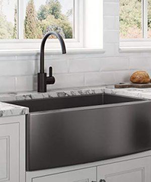 Ruvati Gunmetal Black Matte Stainless Steel 36 Inch Apron Front Farmhouse Kitchen Sink Single Bowl RVH9880BL 0 300x360