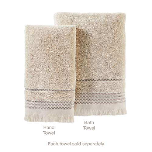 SKL Home By Saturday Knight Ltd Jude Fringe 2 Piece Hand Towel Set Taupe 0 1